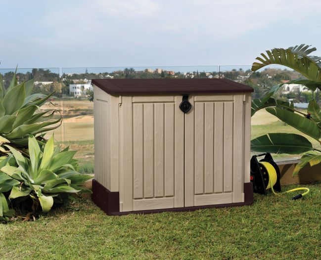 Keter Woodland 30 Horizontal Storage Shed Plastic Storage Sheds Garbage Shed Outdoor Storage Sheds
