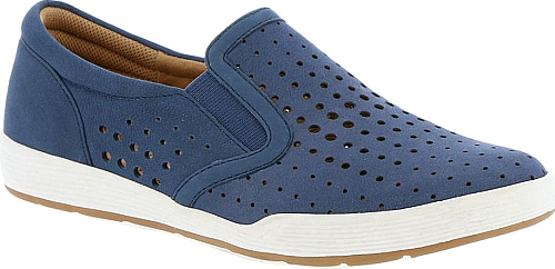 ff1ae088f6a5 Comfortiva Women s Shoes in Denim Color. This sporty slip-on is just the  ticket for non-stop summer schedules. Perfed nubuck leather upper. Slip-on  style.