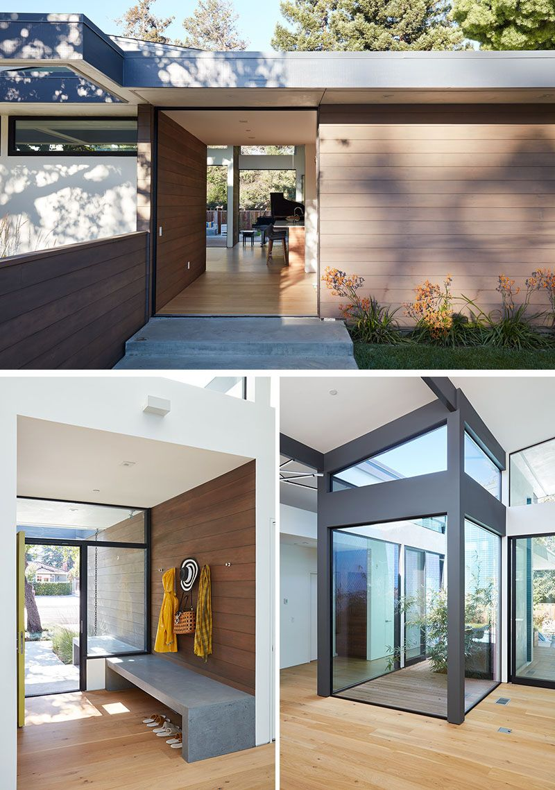 Upon entering this modern house an open atrium entry in the middle of provides light and nature to great room also new makes use outdoor space extended living rh pinterest