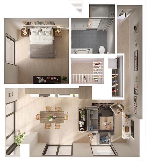 One Bedroom 3d Floor Plan Top View 3d Floor Plans Floorplans 3d 3dfloorplans Apartment Layout One Bedroom House Plans Sims House Design