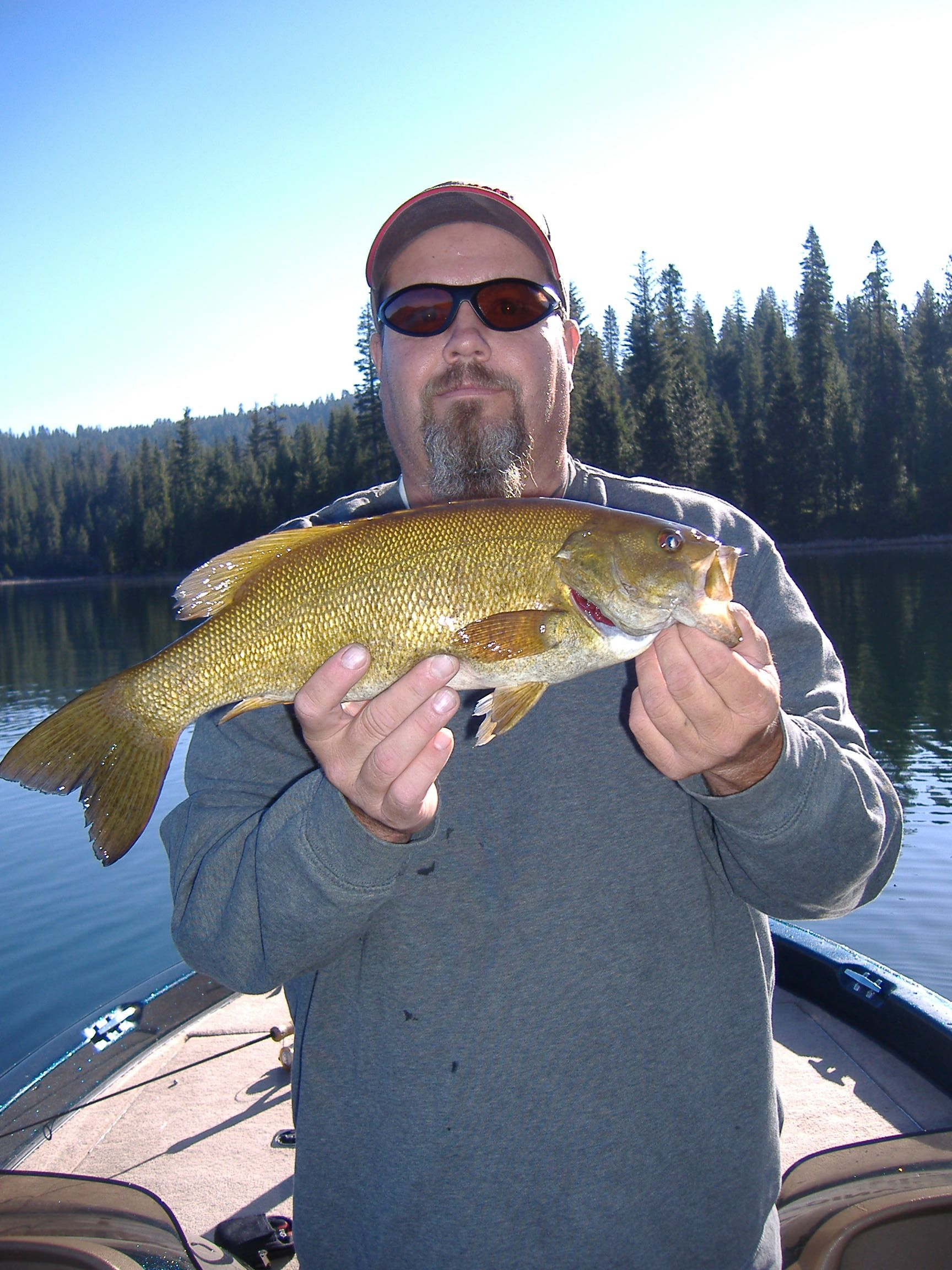 Randy williams with a smallmouth bass from sly park for California bass fishing