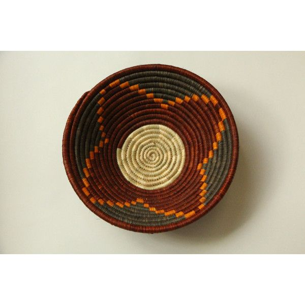 AFRICAN BASKET Handwoven Small Geometric Pattern (£18) ❤ liked on Polyvore featuring home, home decor and african home decor
