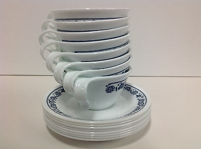 16 Corelle Old Towne Blue Cups & Saucers (Set of 8)