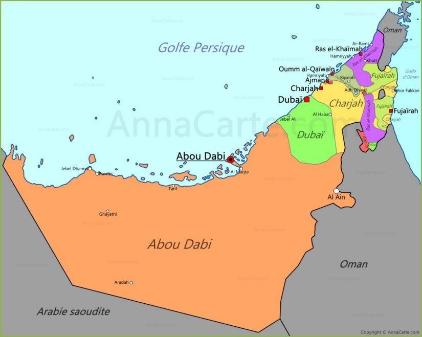 Carte Des Emirats Arabes Unis Carte Dubai Emirats Arabes Unis