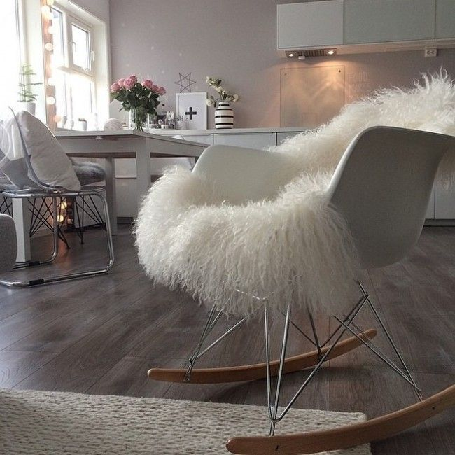 Eames Style Rar Molded White Plastic Rocking Chair With Steel Eiffel Legs This Mid Century