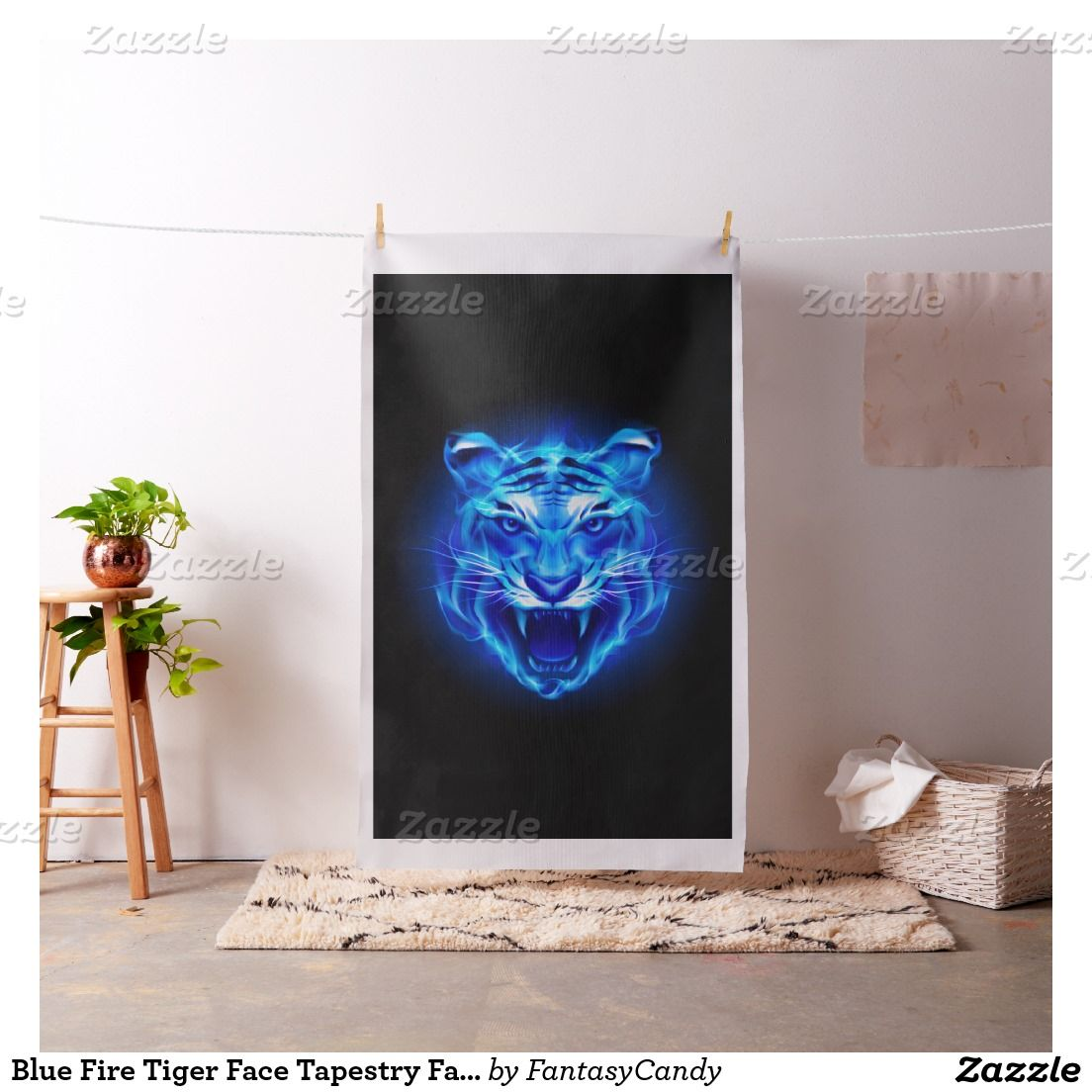 Blue Fire Tiger Face Tapestry Fabric