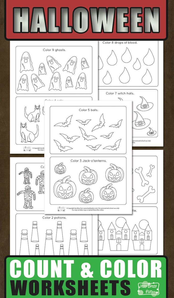 Halloween Count And Color Worksheets Itsybitsyfun Com Kids Worksheets Printables Color Worksheets Counting Worksheets For Kindergarten [ 1200 x 700 Pixel ]