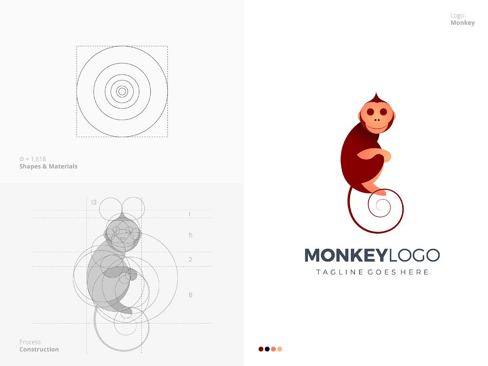 Monkey Golden Ratio Logo Design Golden Ratio Logo Design Pet Logo Design Golden Ratio Logo
