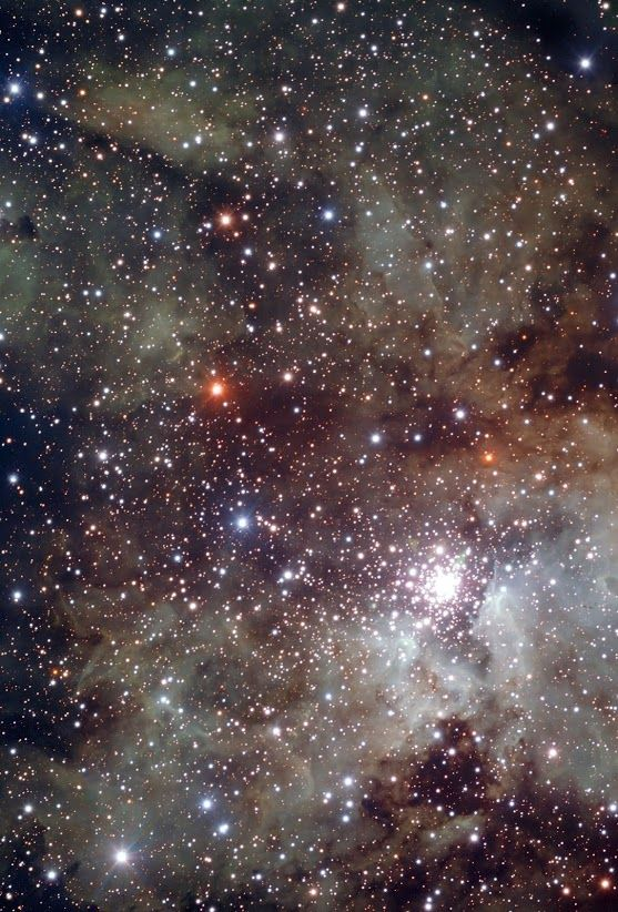 #Stellarnursery #NGC3603 | NGC 3603 is a starburst region : a cosmic factory where stars form frantically from the nebula's extended clouds of gas and dust. Located 22,000 light-years away from the Sun, it is the closest region of this kind known in our galaxy, providing astronomers with a local test bed for studying the intense star formation processes, very common in other galaxies, but hard to observe in detail because of their large distance.