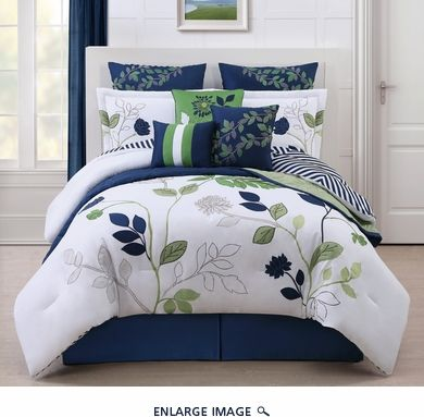 10 Piece King Vancouver White/Blue/Green Comforter w/Quilt Set