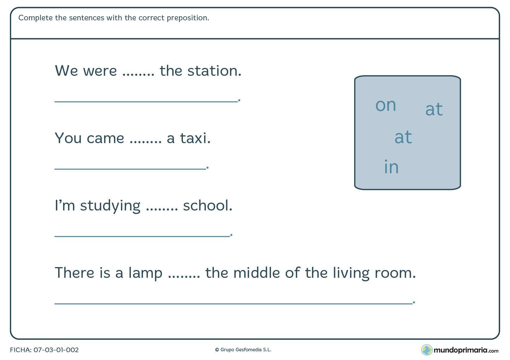Fichas De Grammar Para 5º De Primaria Mundo Primaria Fichas Las Preposiciones En Ingles Primarias