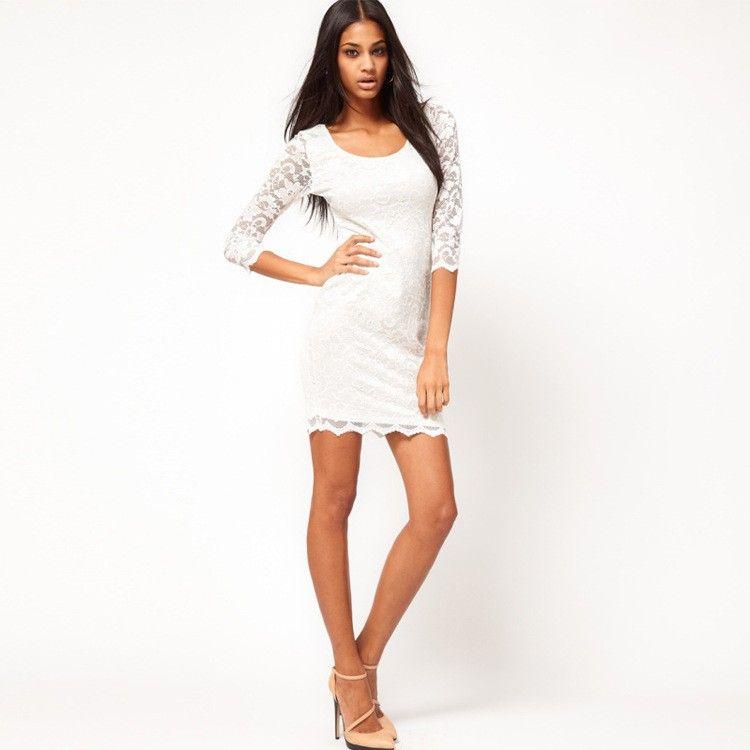 White Lace Casual Dress Photo Album - Reikian