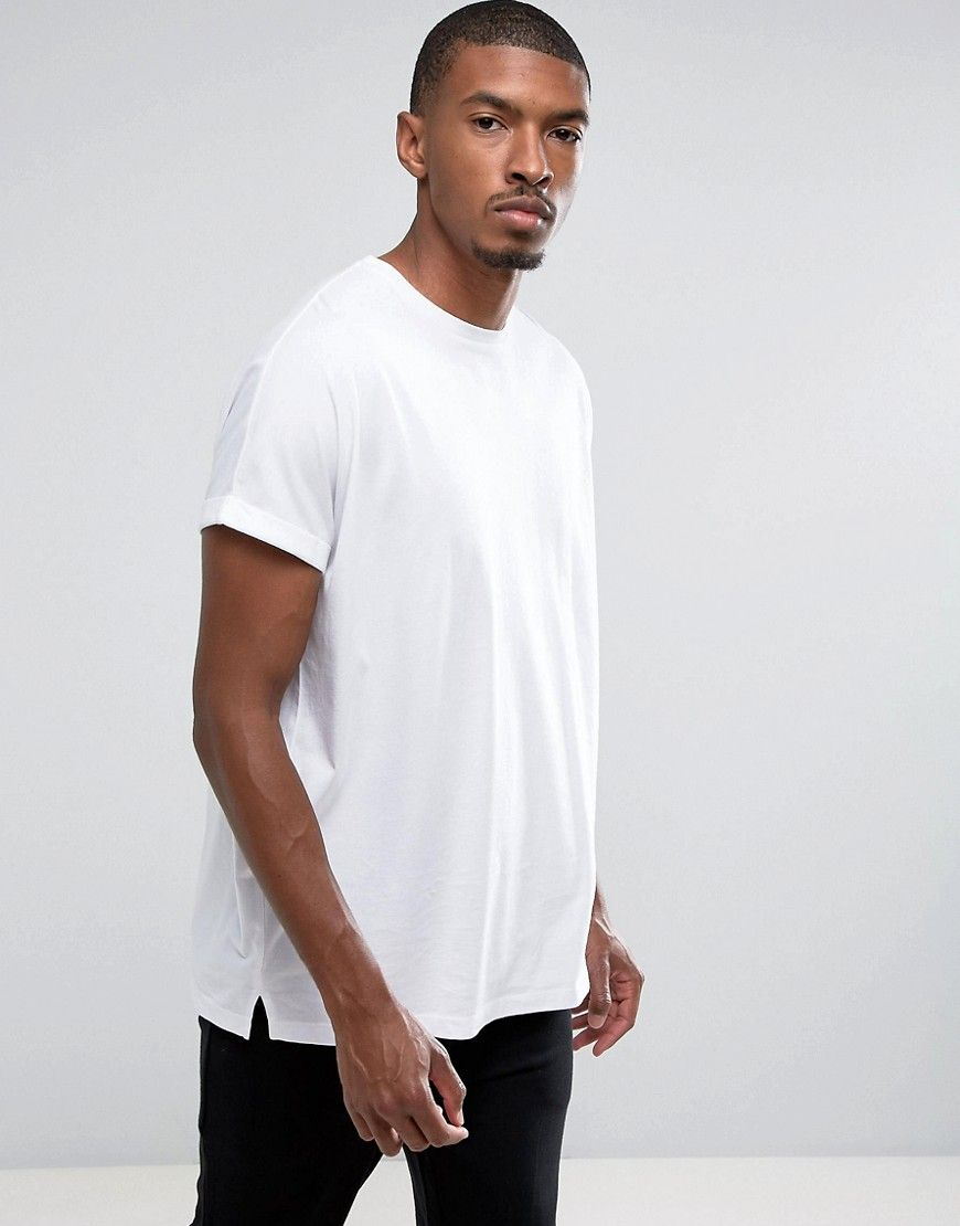 79f11f1ae01c66 ASOS Super Oversized Longline T-Shirt With Roll Sleeve In White - Whit