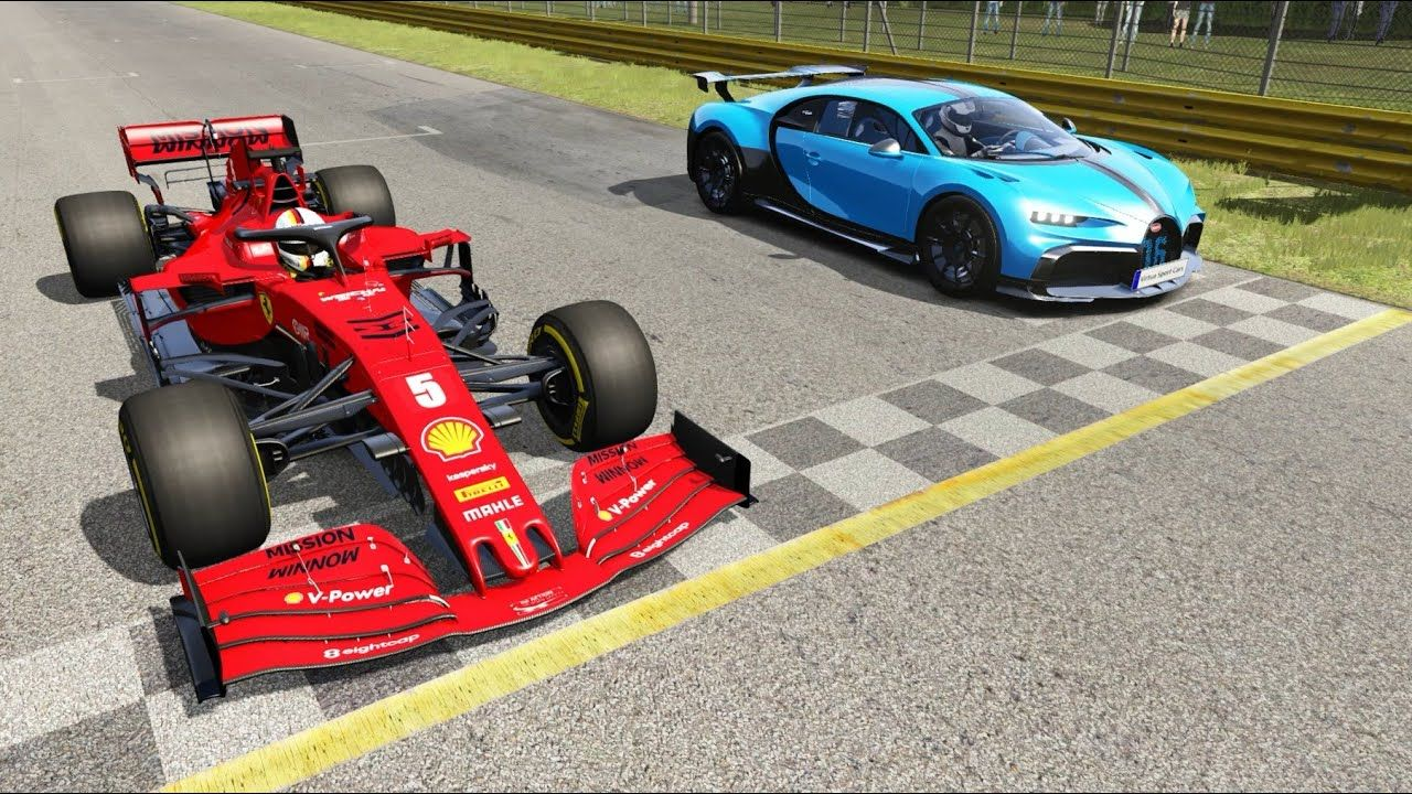 F1 2020 Ferrari SF1000 Vettel vs Bugatti Chiron Pur Sport at Monza Full Course