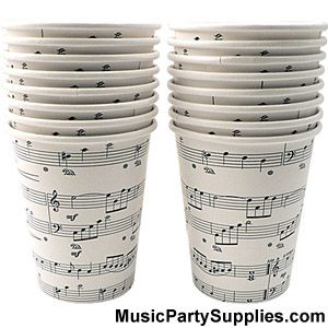 Sheet Music Cups Music Gifts For Musicians Drummer Gifts And Occupation Gifts Music Party Music Themed Parties Music Note Party