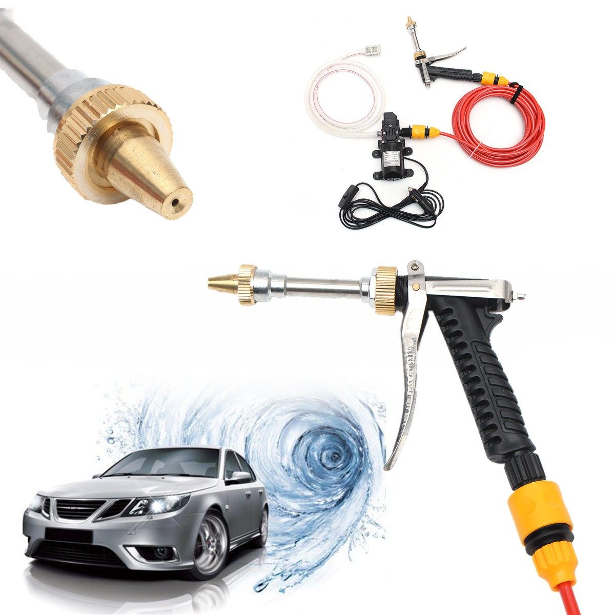 12v 60w High Pressure Washer Spray Tool Electric Car Water Cleaner Wash Pump Kit Pressure Washer Clean Water High Pressure