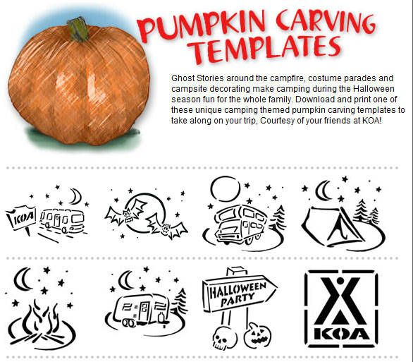 Camping pumpkin carving templates from KOA. | DIY | Pinterest