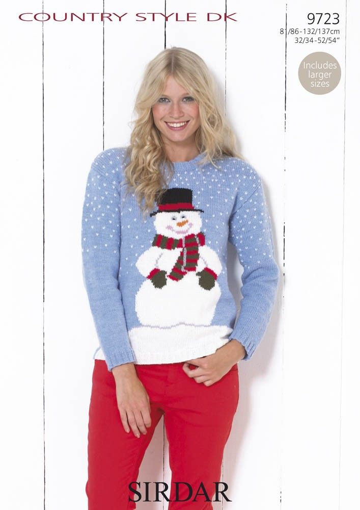 Snowman Jumper In Sirdar Country Style Dk 9723 Christmas