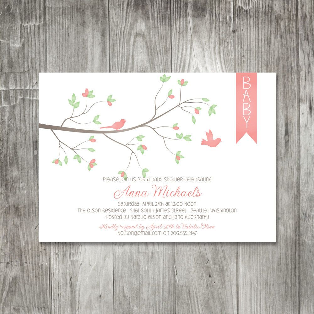 Spring birds baby shower invitation baby pinterest shower spring birds baby shower invitation filmwisefo Images