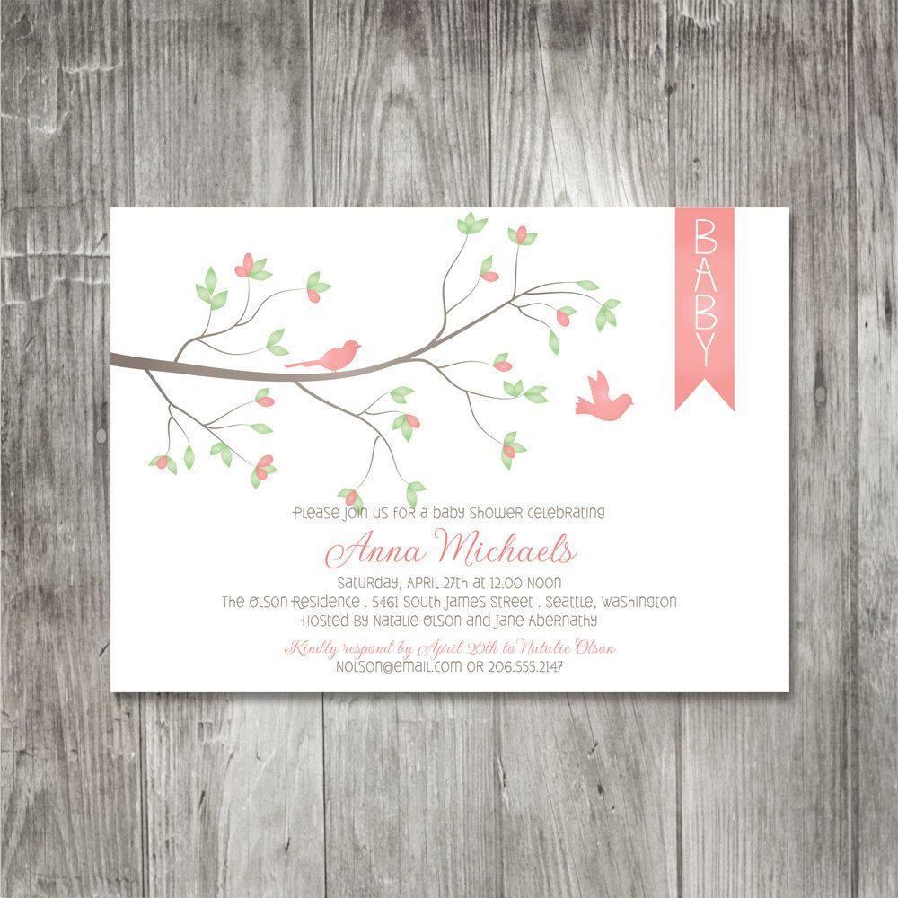 Spring Birds Baby Shower Invitation: Spring Bird Themed Wedding Invitations At Reisefeber.org