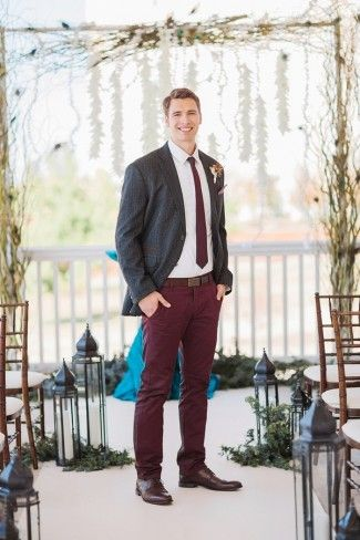 Burgundy Pants And Tie With Gray Jacket Rustic Fall Wedding Attire For A Groom