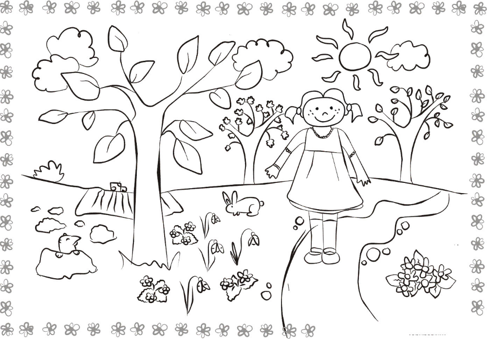 Раскраска Лето для детей распечатать бесплатно   Раскраски ...