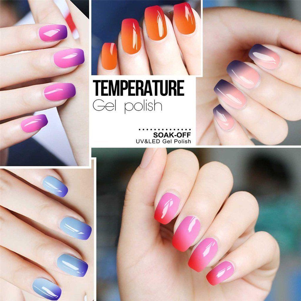 Allenbelle Color Changing Nail Polish Gift Set In 2020 Nail Polish Mood Nail Polish Gel Color Changing Gel Polish