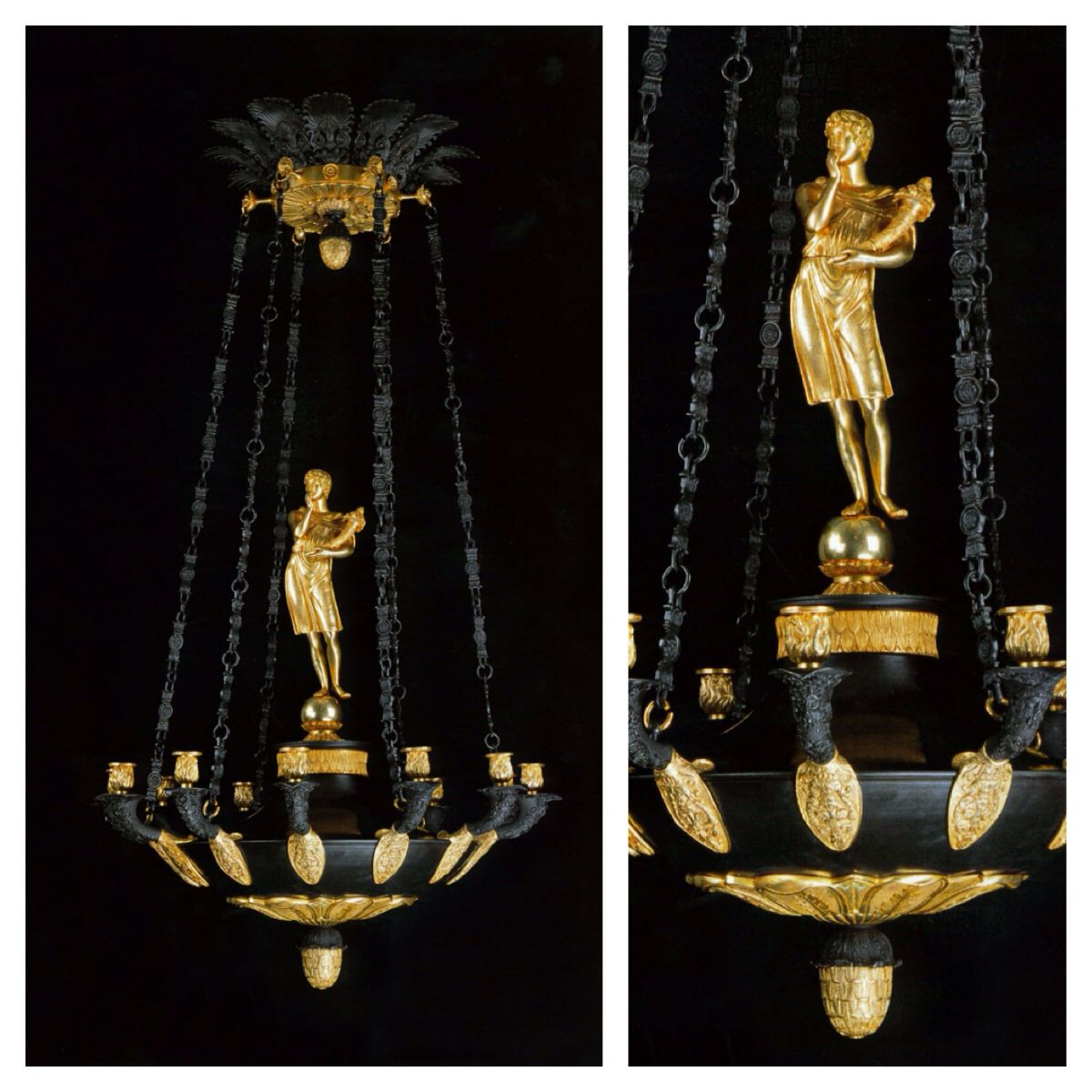 Heuvelmans Interiors handmade gilt bronze chandelier ...
