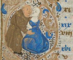 Lustful friar. Book of hours (the calendar page for December), Nantes 15th century