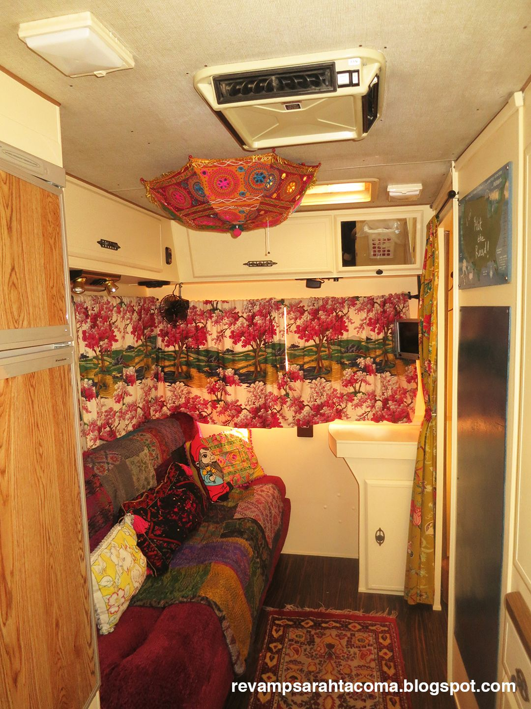 Boho Camper Rv Travel Trailer Glamping Camping Airstream Lazy Daze Remodeled Rv Travel Painted Ceiling Remodel