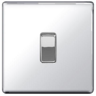 Knightsbridge 1G Intermediate Switch Flat Range in Decorative Brushed Chrome