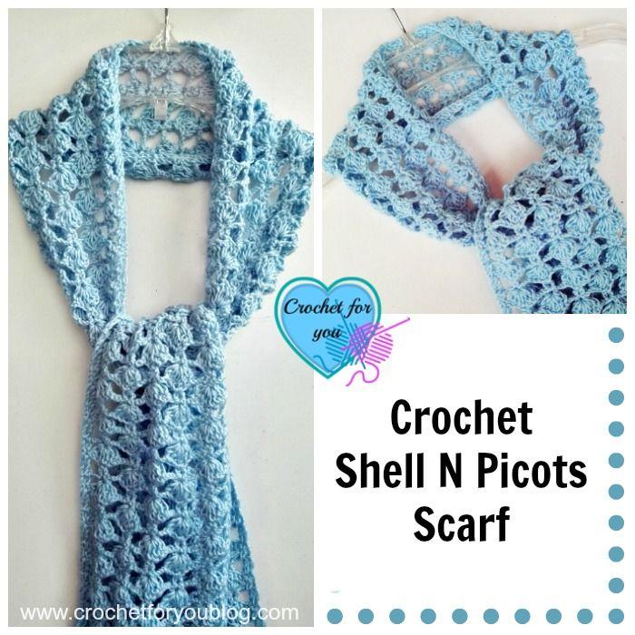 Crochet Shell N Picots Scarf Free Pattern Crochet Patterns