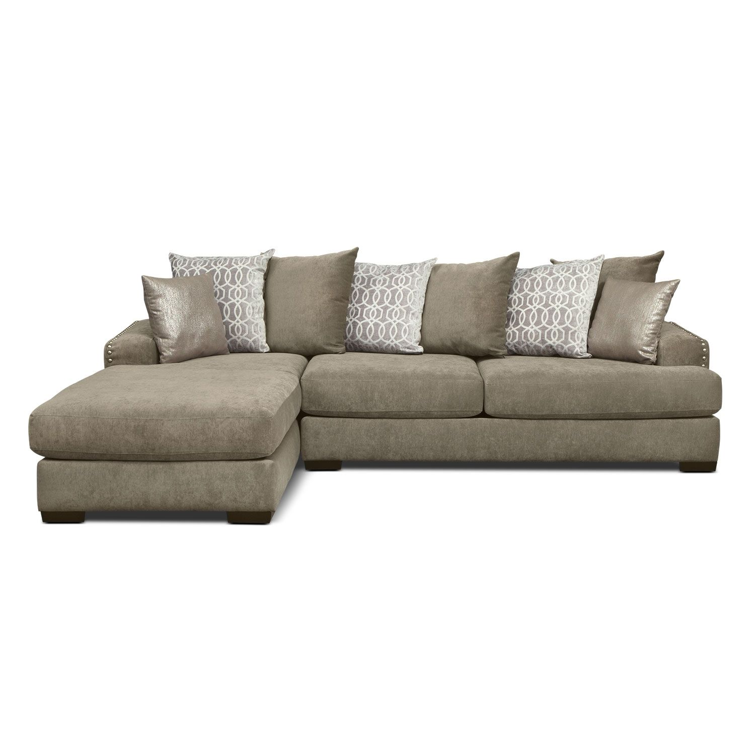 Ashburn 3 Pc Sectional W 4 Pillows