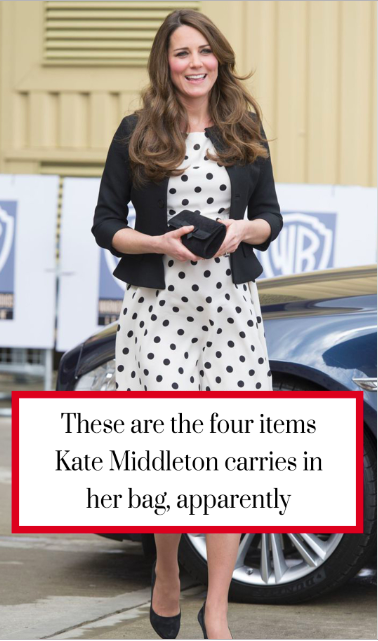 fa2886c0624fc These are the four items Kate Middleton carries in her bag ...