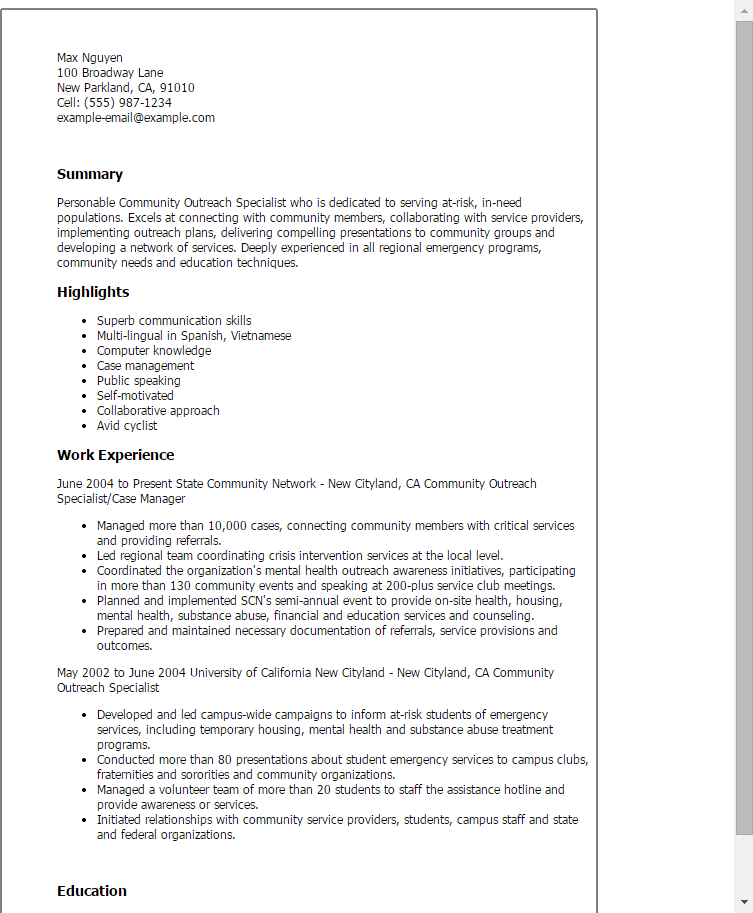 1 Community Outreach Specialist Resume Templates Try