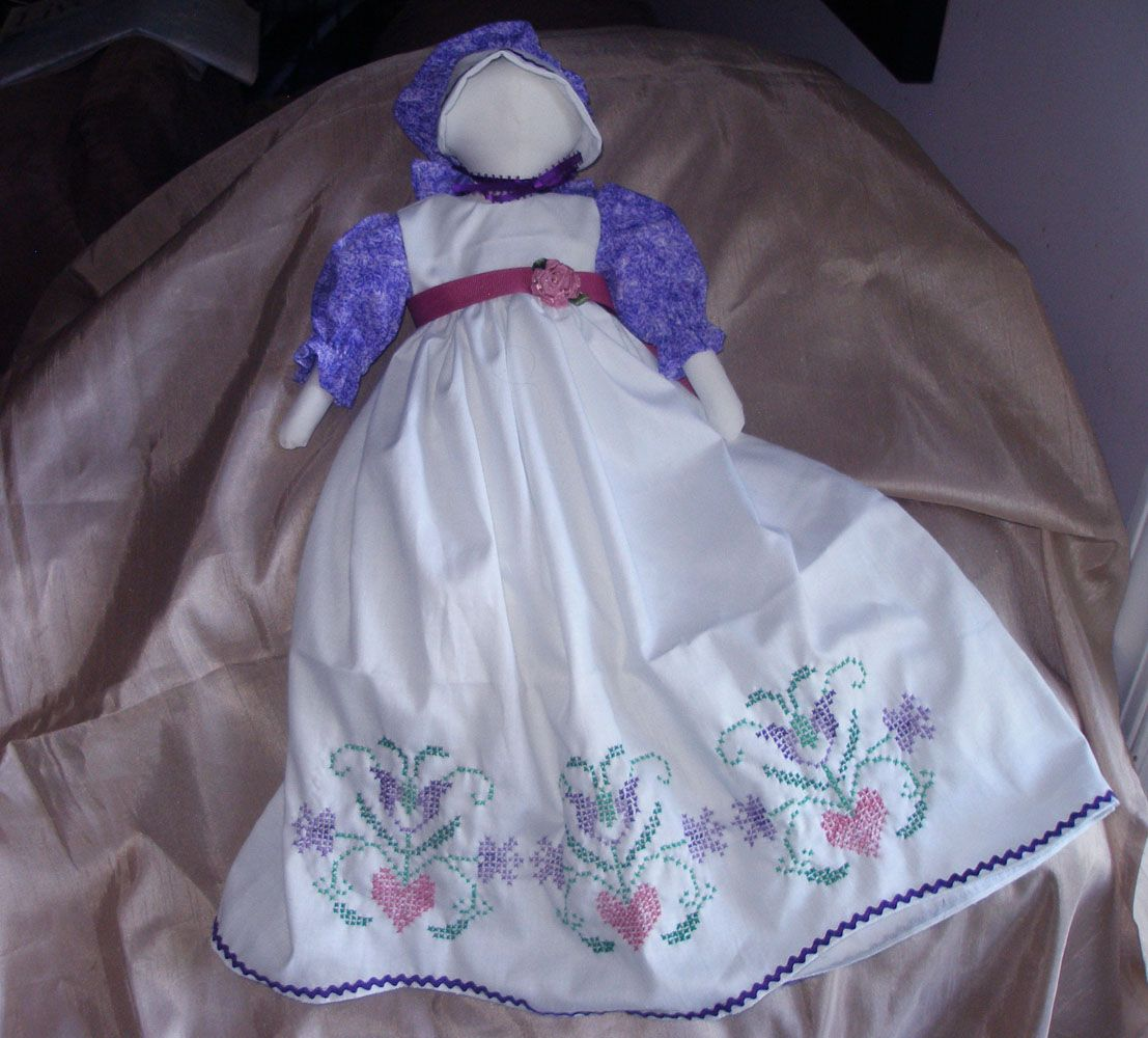pillowcase doll-an old craft revitalized- use a pillowcase you love or embroider one, then cut into long skirt and yoke pieces, and add some color with a matching floral for sleeves and bonnet #pillowcasesandpillowcasedolls