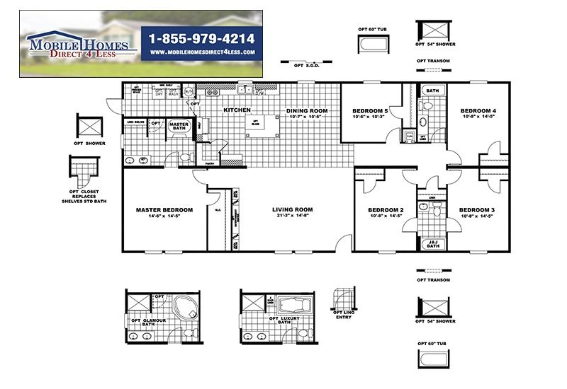 The King Slt32685a 5 Bed 3 Bath Mobile Home For Sale Mobile Home Floor Plans Modular Floor Plans Open Floor House Plans