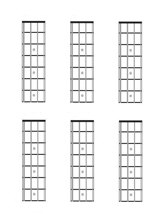 Four String Bass Guitar Charts Fretboard Diagrams Blank Music