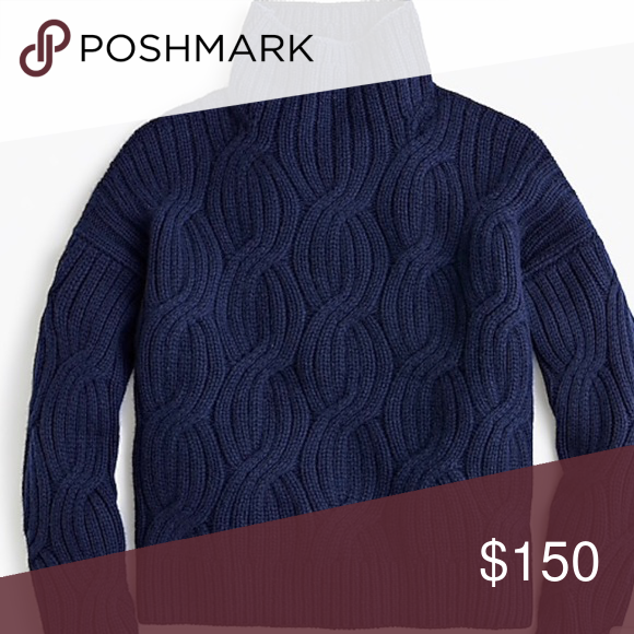 f0124751056fc J.Crew Collection Cashmere Cable-Knit Turtleneck A cozy sweater from their  holiday collection. 100% cashmere in navy blue. Worn three times and just  picked ...