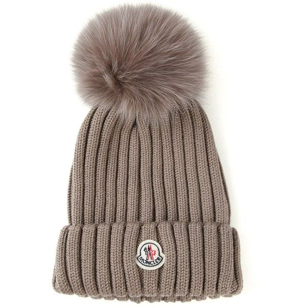Moncler Ribbed Knit Beanie Found On Polyvore Featuring Polyvore Women S Fashion Accessories Hats Brown Bobble Beani Knit Beanie Hat Designs Moncler Beanie