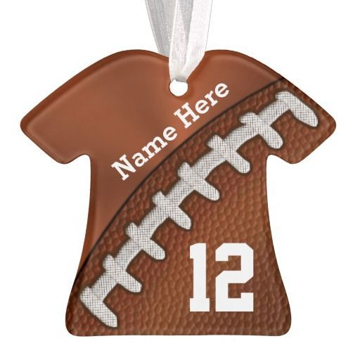Football Christmas Ornaments with FOUR (4) Text Boxes to type player's NAME and Jersey NUMBER on the FRONT and the BACK or these cool football ornaments for boys personalized just for them. http://www.zazzle.com/cool_football_ornaments_with_name_and_number-256110743892123671?rf=238147997806552929* ALL Personalized Football Gifts for Players, Coaches, CLICK Zazzle associates LINK…