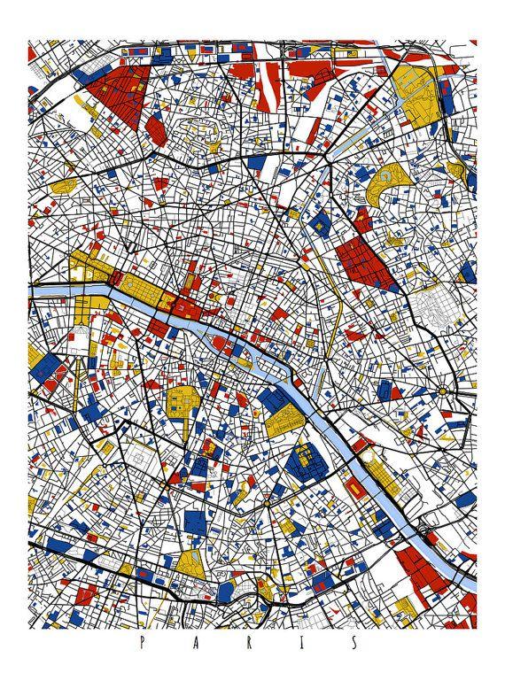 Paris Map Art Paris France Wall Art Print Poster Modern - Modern map of paris