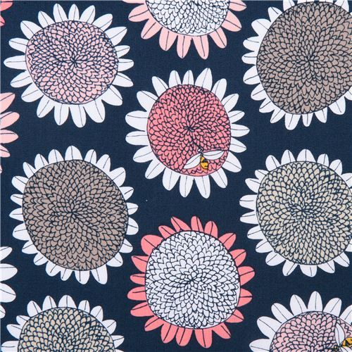 flower Sun Spot And Bee Coral Cloud 9 organic fabric Arcadia 1
