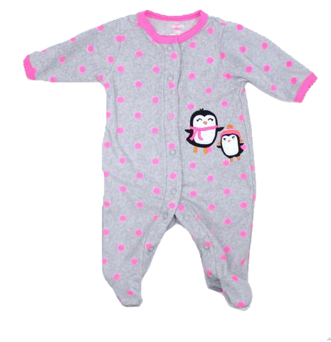 c9f9746a75 New Born Baby Girls Fleece Sleeper in Grey with Pink Polka Dots and  Penguins by Carters