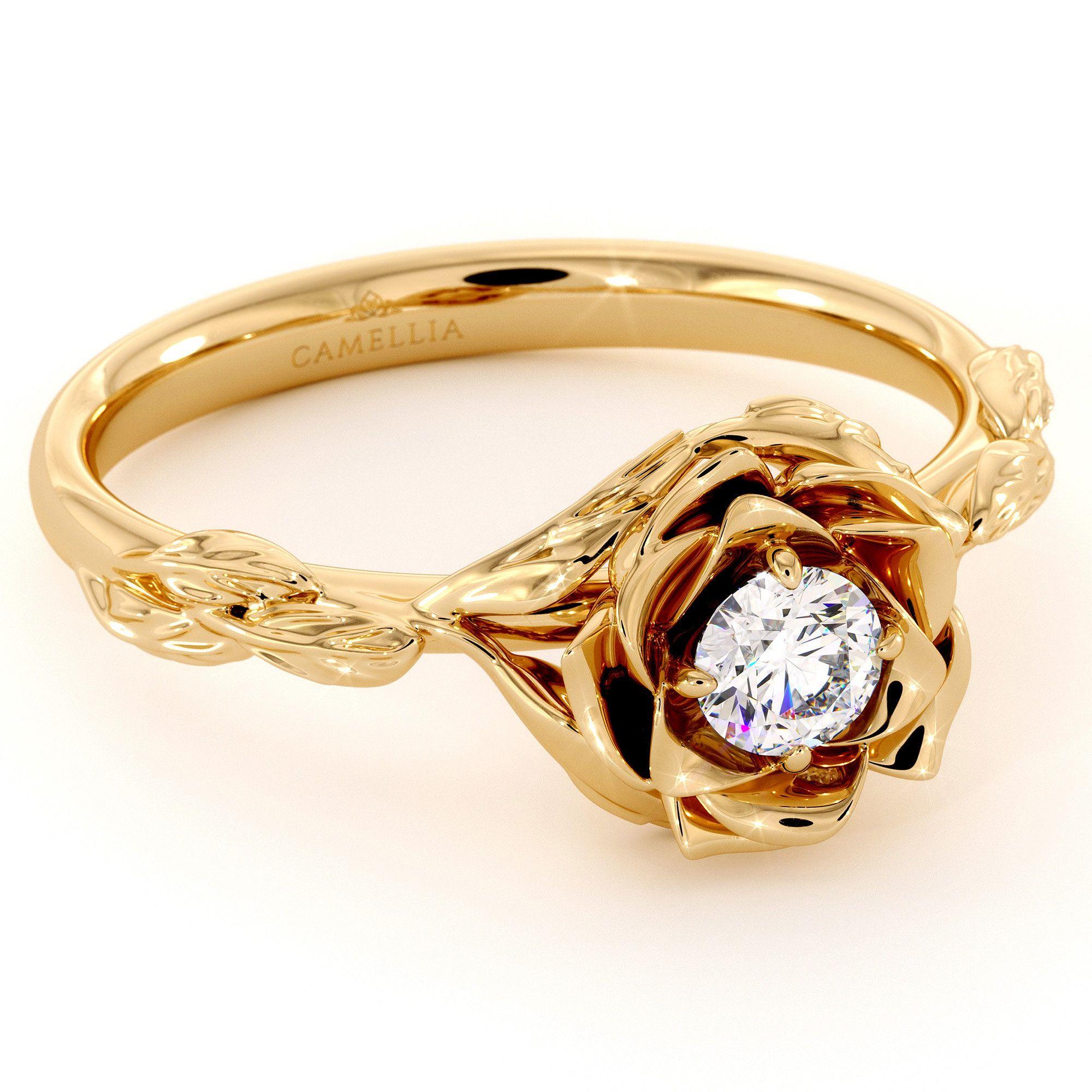 Diamond engagement ring flower engagement ring yellow gold