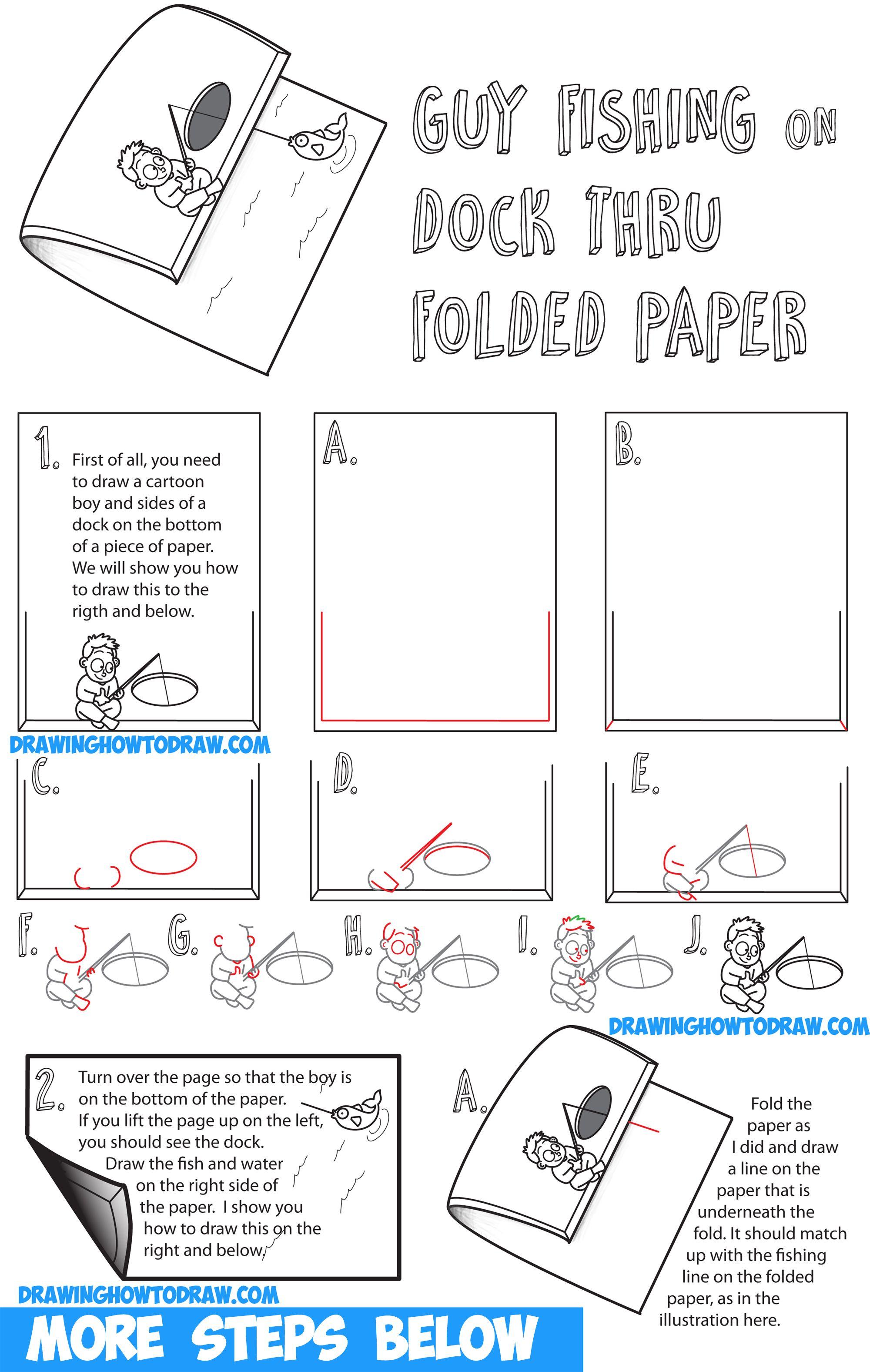 How to Draw Cartoon Boy Fishing on Dock - Optical Illusion ...