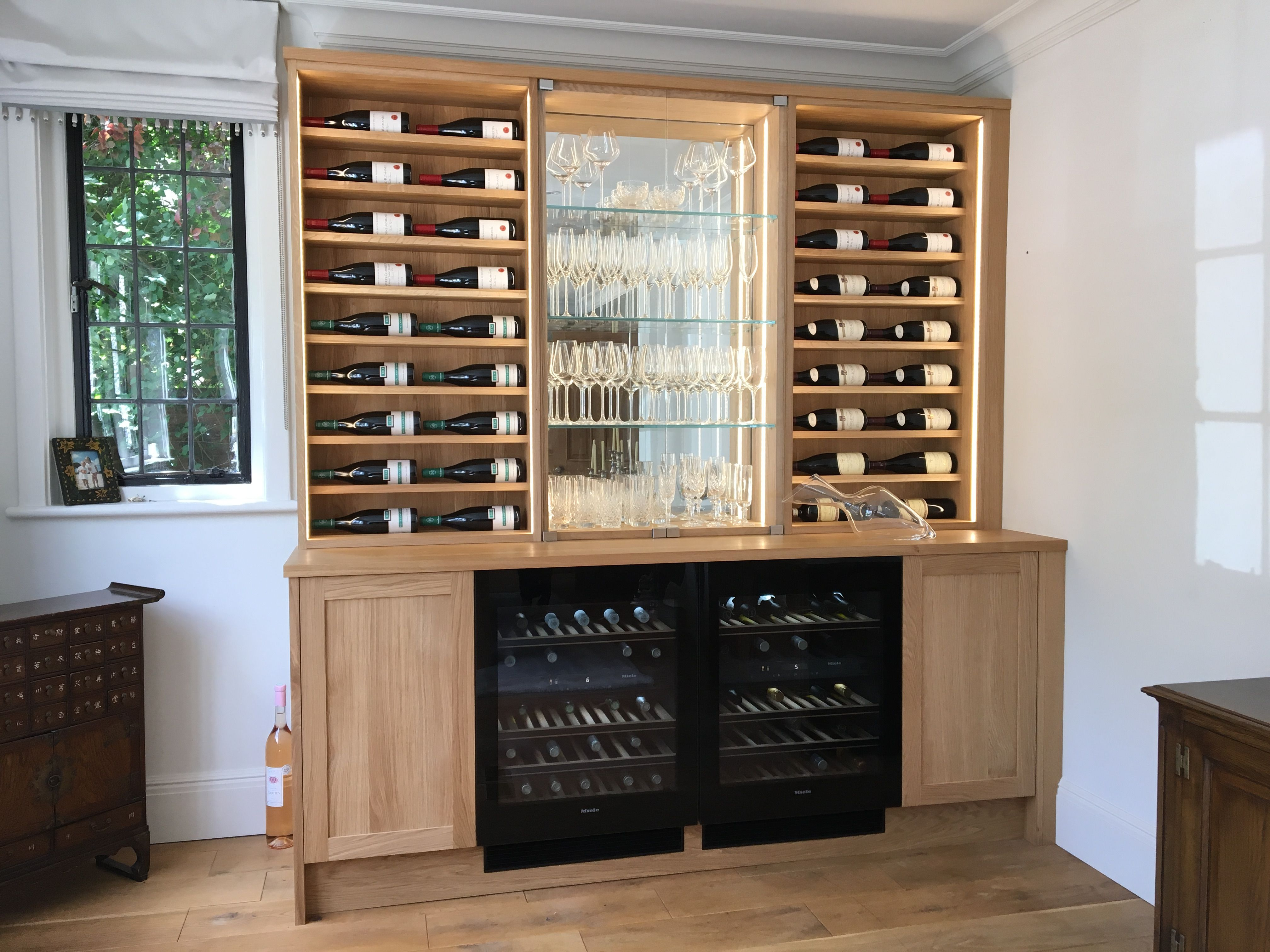 Best Contemporary Oak Bar Dresser With Horizontal Wine Storage 400 x 300