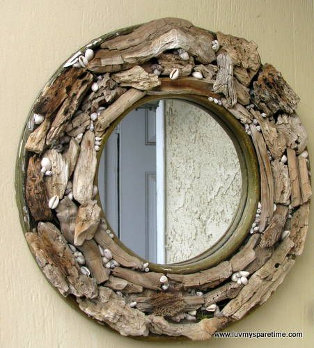 creative diy mirror frames ideas with driftwood shells - Mirror Frame Ideas