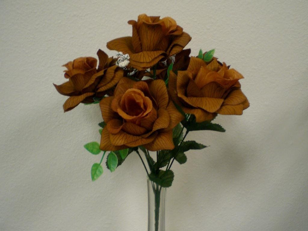 2 Bushes Brown Open Rose Artificial Silk Flower 15 Bouquet 7 039br