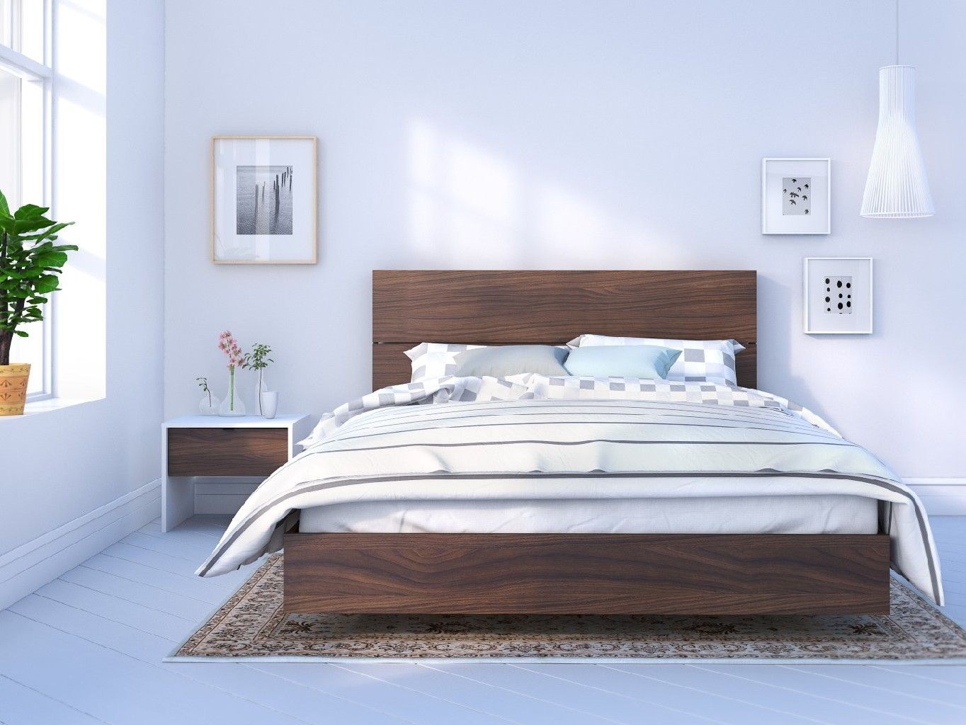 Identi T 3 Piece Queen Size Bedroom Set White And Walnut Nexera